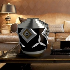 "vase-art-deco-2-CARRE.jpg Download STL file Flowervase round ""ART DECO"" 3d gregor • 3D print design, 3dgregor"