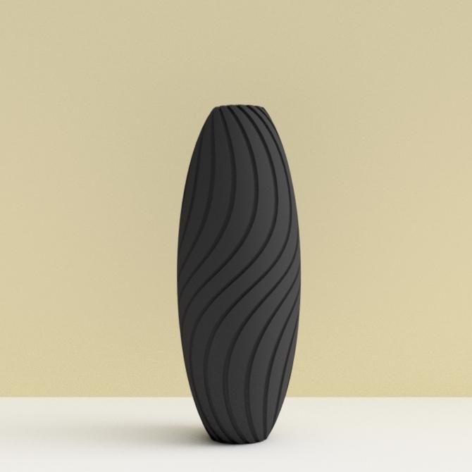 """soliflore-bassin d'arcachon noir-2.jpg Download STL file """"Wave motion"""" vase • 3D printable design, 3dgregor"""