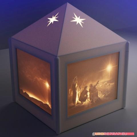 Imprimir en 3D Linterna de Navidad con lithopanes - (para fuentes de luz eléctricas), euroreprap_eu