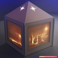 STL file Christmas lantern with lithopanes - (for electric light sources), euroreprap_eu