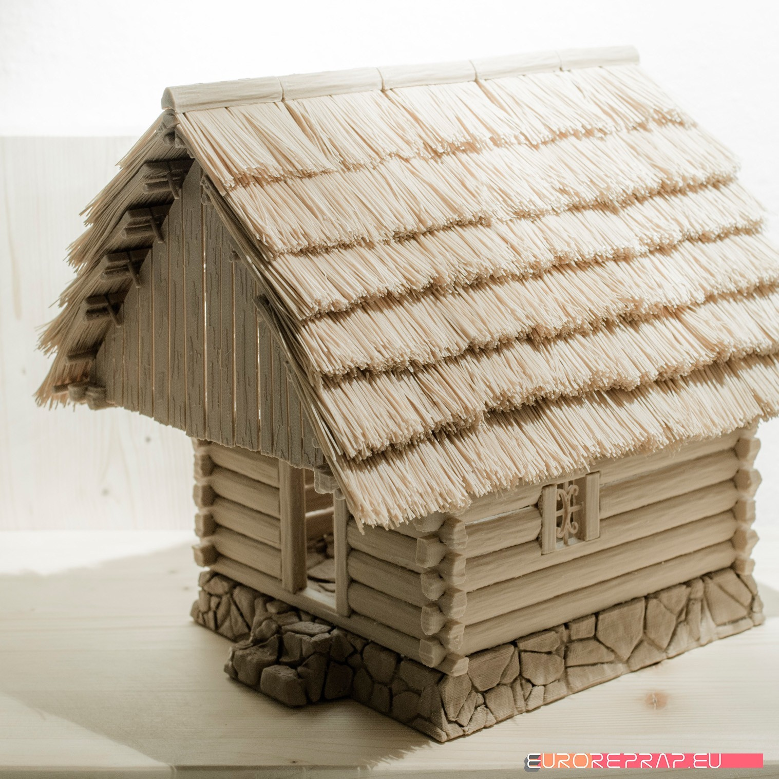 P01.jpg Download STL file 3D printed house - log cabin - cottage • 3D printable template, euroreprap_eu