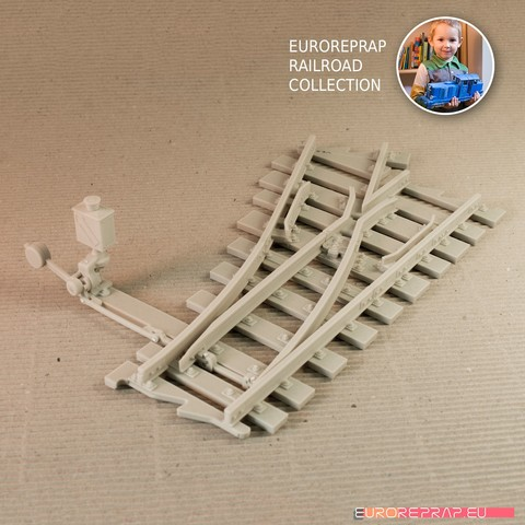 STL files Turnout - left-hand (No7) with working point indicator! - Euroreprap Railroad System, euroreprap_eu