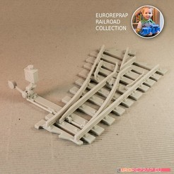 3D printer file Turnout - left-hand (No7) with working point indicator! - Euroreprap Railroad System, euroreprap_eu