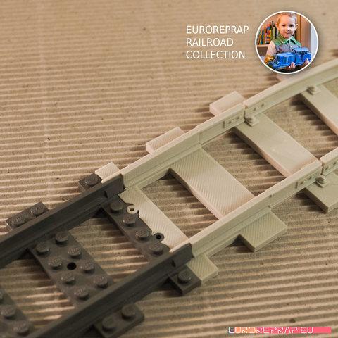 "01.jpg Download free STL file LEGO to ""Euroreprap Railroad System"" track adapter • 3D printing template, euroreprap_eu"