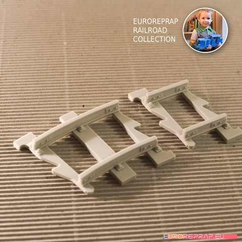 3D printing model Short tracks set: curved, straight (No2A, No1B) - Euroreprap Railroad System, euroreprap_eu