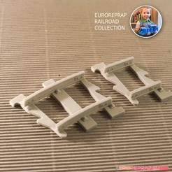 3D printing model Short tracks set: curved, straight (No2A, No1B) - Euroreprap Railroad System, euroreprap_eu