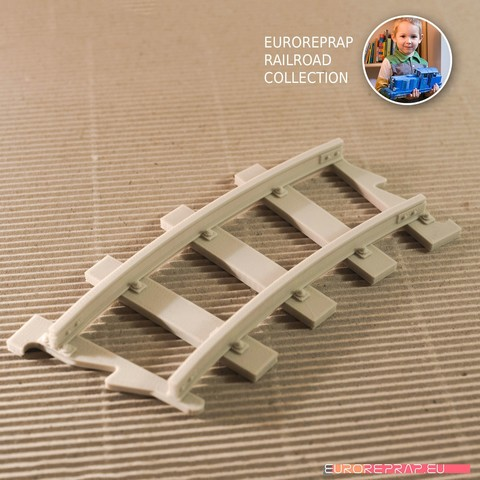 Download 3D printer designs Curved Track (No2) - Euroreprap Railroad System, euroreprap_eu