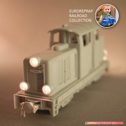 stl file Diesel-02EL locomotive - LEGO/ERS compatibile, FDM 3D printable, ready for radio controlled engine/lights, euroreprap_eu