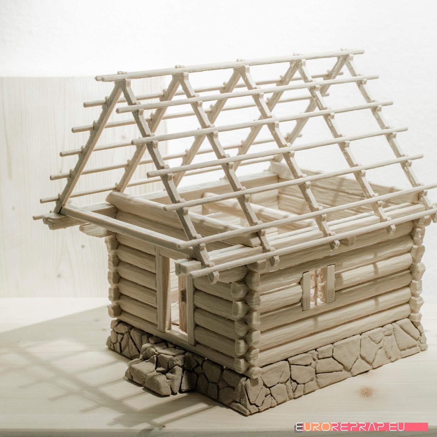 P03.jpg Download STL file 3D printed house - log cabin - cottage • 3D printable template, euroreprap_eu