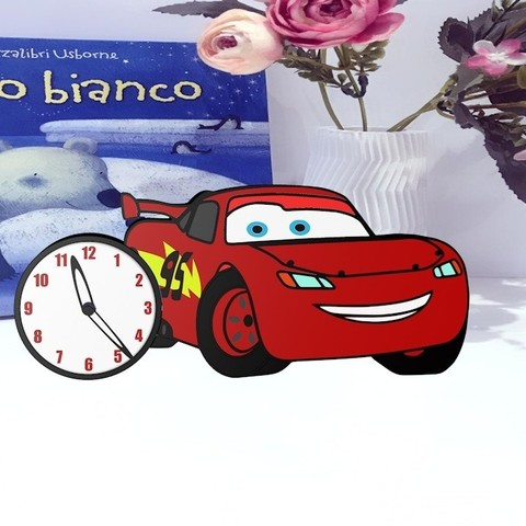 3D printer files clock inspired Lightning McQueen, herik