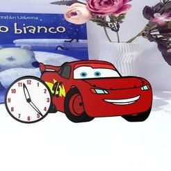 Download 3D print files clock inspired Lightning McQueen, herik