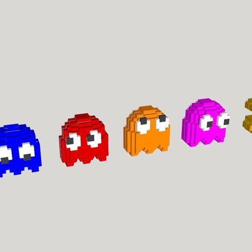 Capture.JPG Télécharger fichier STL gratuit PacMan 8 bits et fantômes - Pièces séparées (pas besoin de colle) • Design à imprimer en 3D, conceptify