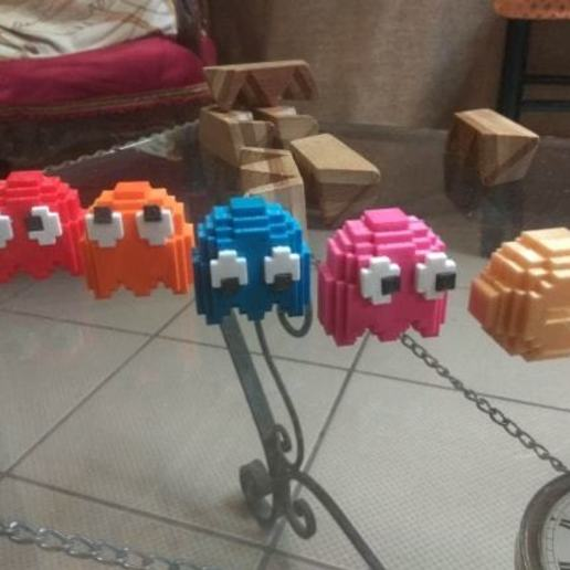 Download free STL file 8 bits style PacMan and ghosts - Separate parts (no glue needed) • 3D printable object, conceptify