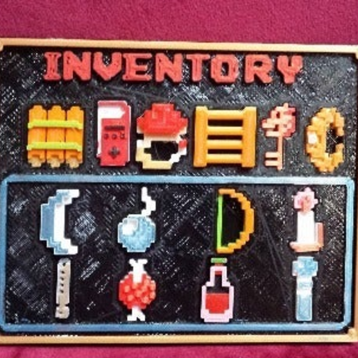 téléchargement.png Download free STL file Zelda 8 bits Inventory menu with items • Object to 3D print, conceptify
