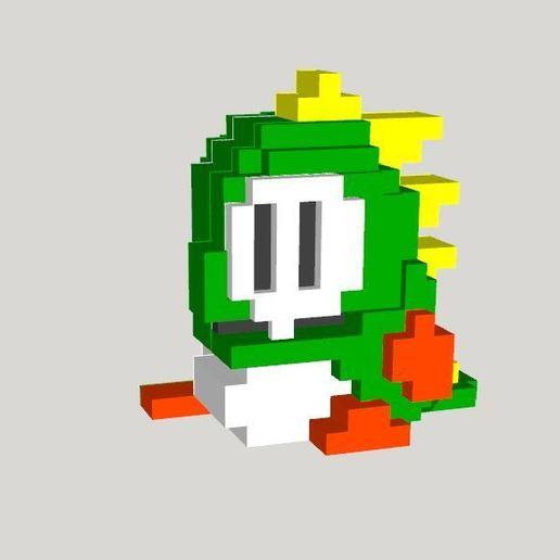 Bubble_Bobble_Dragon_-_3D_render.JPG Download free STL file 8 bits style Bubble Bobble Dragon - Separate parts (no glue needed) • 3D print model, conceptify