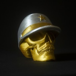 STL gratuit Skull with military cap, Gunnarf1986
