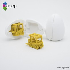 Free 3D printer designs Surprise Egg #2 - Tiny Fork Lift, agepbiz