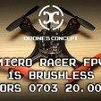 Free STL files Micro Quad fpv Racer 100mm Brushless 1S 0703 20.000kv, Microdure