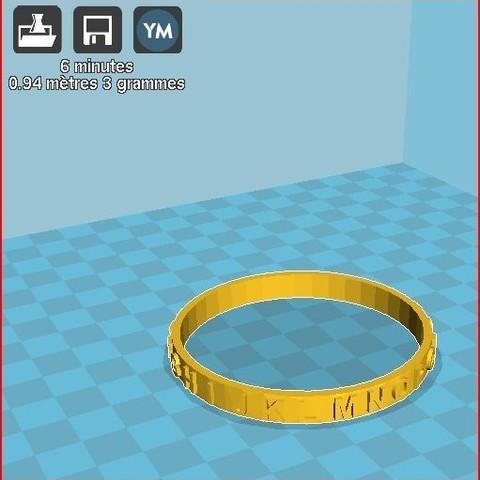 Free 3d printer designs child alphabet bracelet, frednad