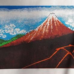 Download STL Ukiyo-e Woodblock Printing - Shower Below the Summit (Sanka Hakuu), PrinterWithAttitude