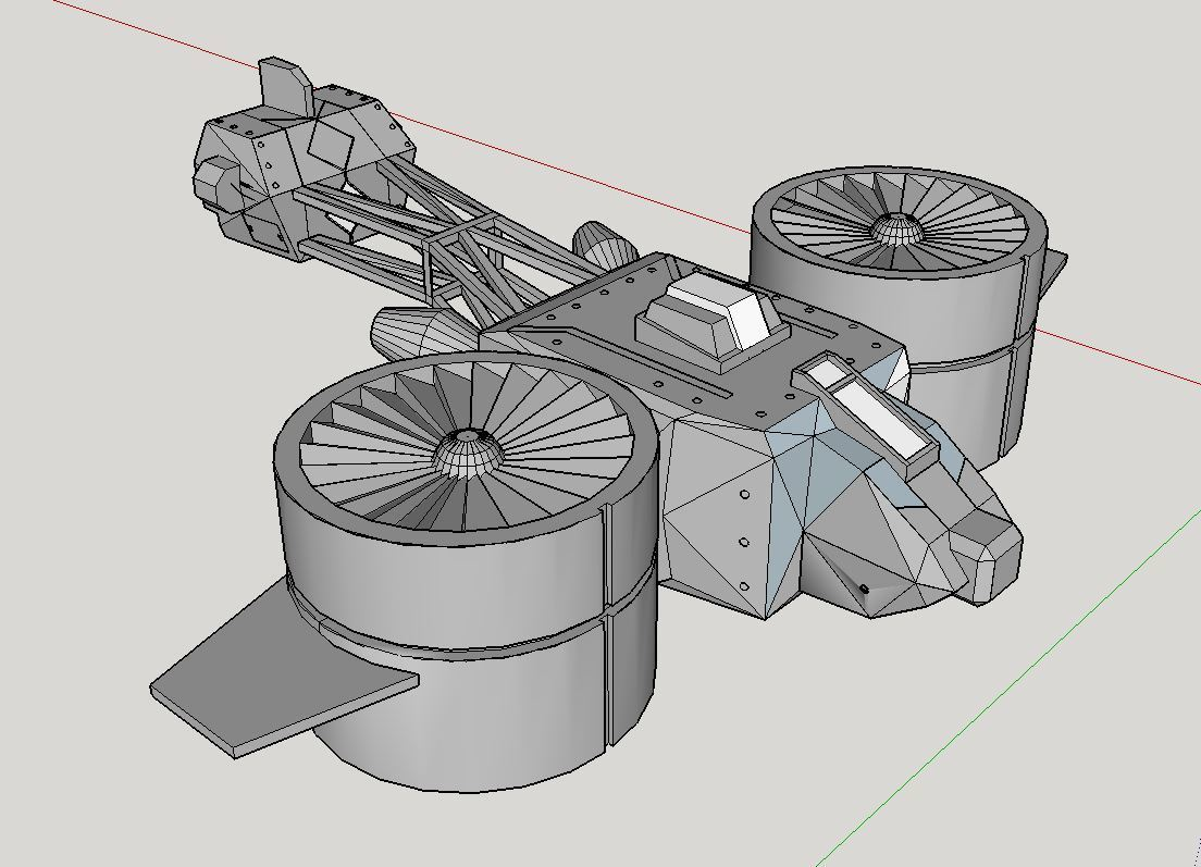 Vue du gyrocopter.JPG Download free STL file Gyrocopter science fiction • 3D printing template, Paul_Vallon