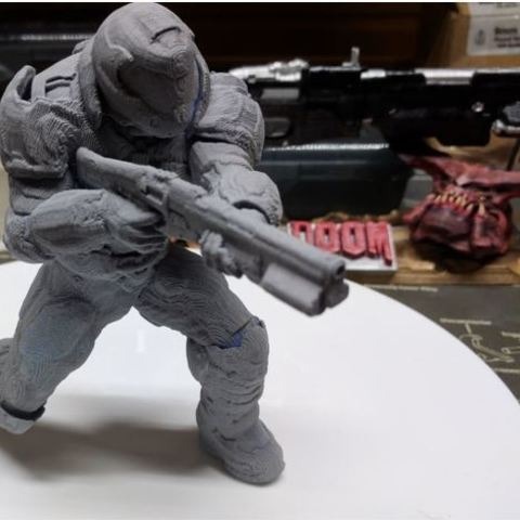 Download free 3D printer designs  Doomguy posed with shotgun, Animalgel