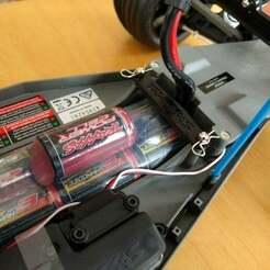 battery_hold5.jpg Télécharger fichier STL gratuit Plaque de maintien de la batterie Traxxas • Design à imprimer en 3D, Mr_Disintegrator