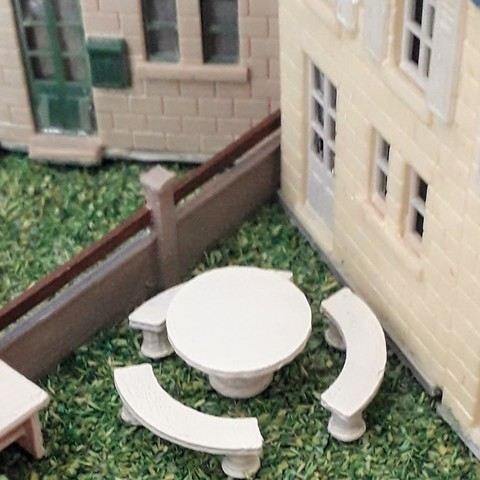 Download 3D printer model Garden table with concrete benches, dede34500