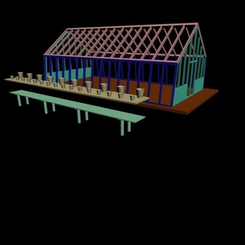 Assemblage_table.jpg Download STL file Set of greenhouses, well, wheelbarrow, shovel, rake and vases for your garden in HO • Design to 3D print, dede34500