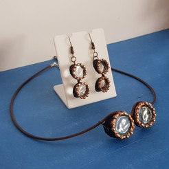 Download STL earring and necklace steampunk glasses, YOHAN_3D