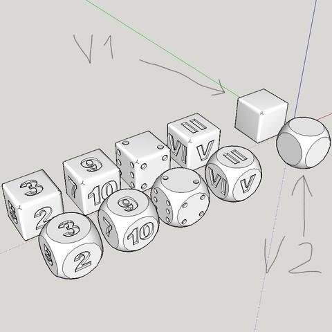 STL files 2 multiple dice version (a point/ number/ number/ Roman number/ virgin), YohanFerrari