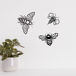 Download STL file The Wasp Bee Pack LINE ART WALL SCULPTURE 2D, xchgre