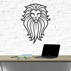 Download 3D printer designs LION LINE ART VECTOR WALL SCULPTURE 2D, xchgre