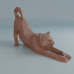 Fichier imprimante 3D Stretching cat low poly, Vincent6m