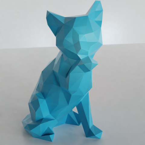 03.png Download STL file Low poly sitting cat • 3D printer object, Vincent6m