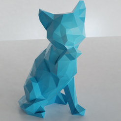 STL files Low poly sitting cat, Vincent6m