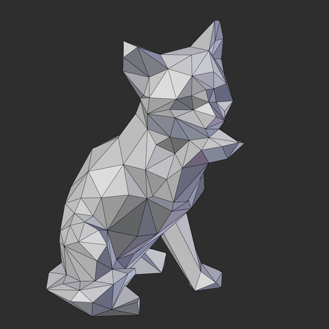 02.png Download STL file Low poly sitting cat • 3D printer object, Vincent6m