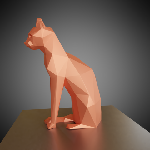 0003.png Download free OBJ file Low poly sitting cat • 3D printer object, Vincent6m