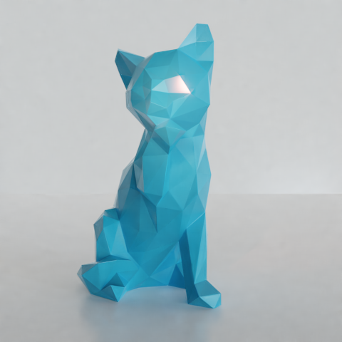 07.png Download STL file Low poly sitting cat • 3D printer object, Vincent6m
