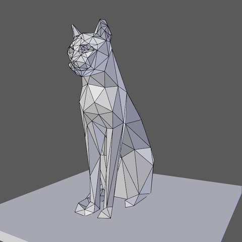 0002.png Download free OBJ file Low poly sitting cat • 3D printer object, Vincent6m