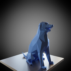 Free STL files Statuette of a lowpoly sitting dog, Vincent6m