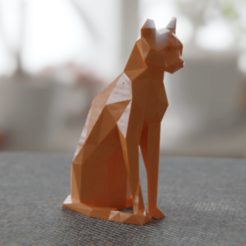 12.png Download free OBJ file Low poly sitting cat • 3D printer object, Vincent6m