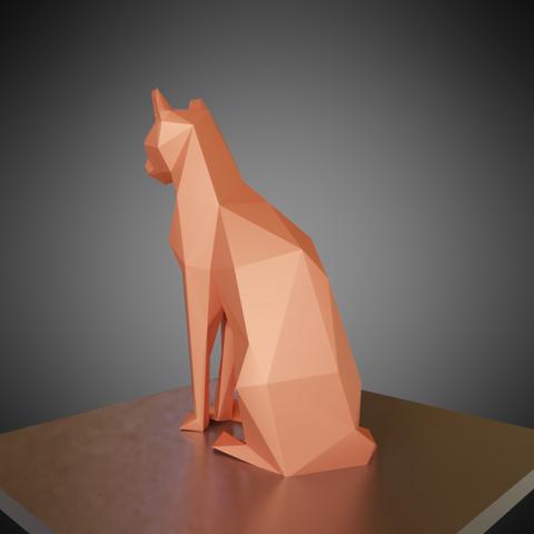 0004.png Download free OBJ file Low poly sitting cat • 3D printer object, Vincent6m