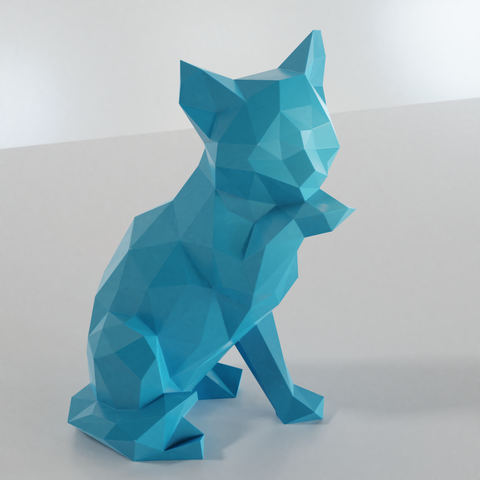 01.png Download STL file Low poly sitting cat • 3D printer object, Vincent6m