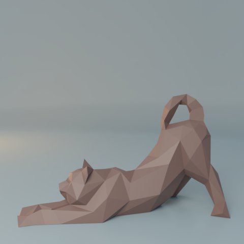13.png Download free STL file Stretching cat low poly • Design to 3D print, Vincent6m