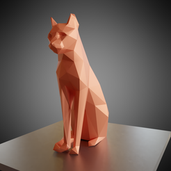 Objet 3D gratuit Statuette de chat assis low poly, Vincent6m