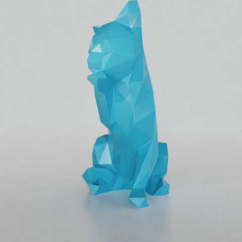 05.png Download STL file Low poly sitting cat • 3D printer object, Vincent6m