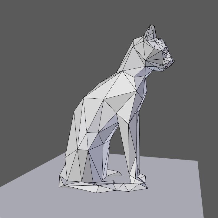 0007.png Download free OBJ file Low poly sitting cat • 3D printer object, Vincent6m