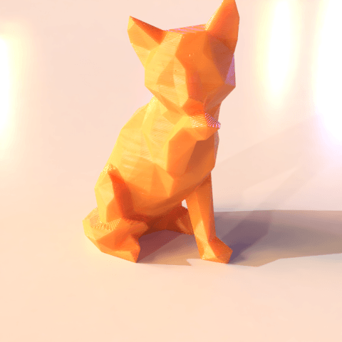04.png Download STL file Low poly sitting cat • 3D printer object, Vincent6m