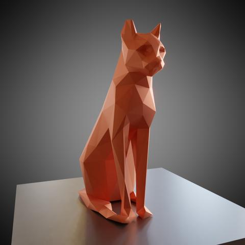 0001.png Download free OBJ file Low poly sitting cat • 3D printer object, Vincent6m